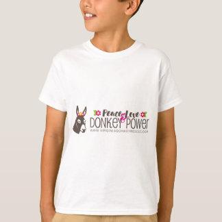 Logotipo do poder do asno do amor da paz camiseta