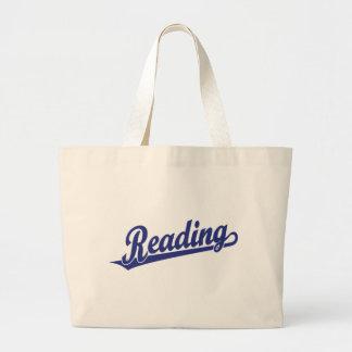 Logotipo do roteiro da leitura no azul bolsa de lona