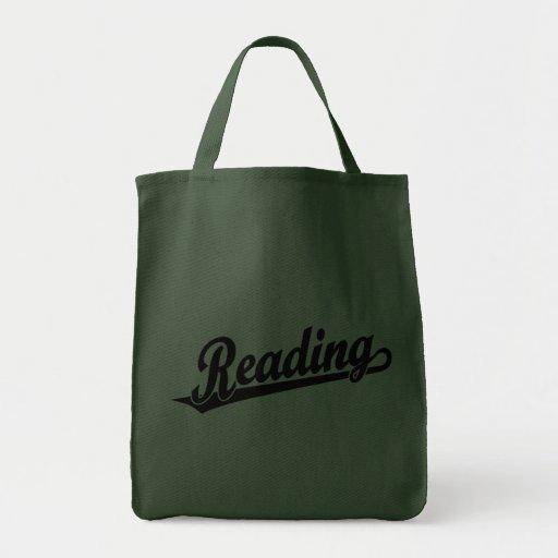 Logotipo do roteiro da leitura no preto bolsa