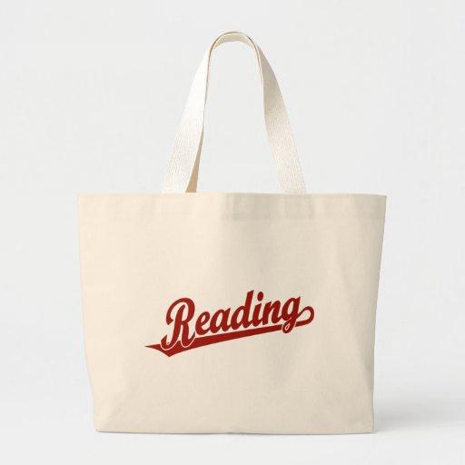 Logotipo do roteiro da leitura no vermelho bolsas de lona