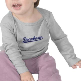 Logotipo do roteiro de Dearborn no azul Tshirt