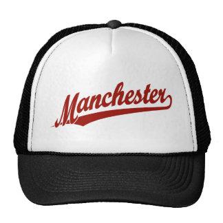 Logotipo do roteiro de Manchester no vermelho Boné