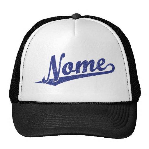 Logotipo do roteiro de Nome no azul afligido Bonés