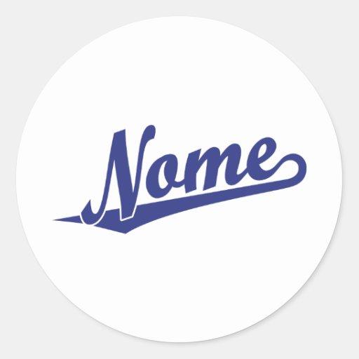 Logotipo do roteiro de Nome no azul Adesivo Em Formato Redondo