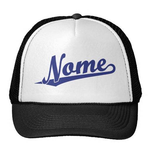 Logotipo do roteiro de Nome no azul Bonés