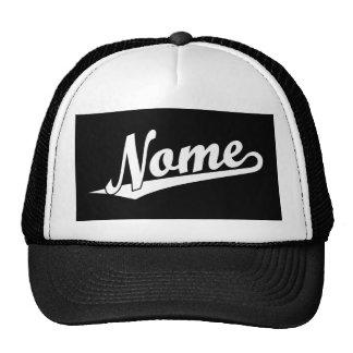 Logotipo do roteiro de Nome no branco Bonés