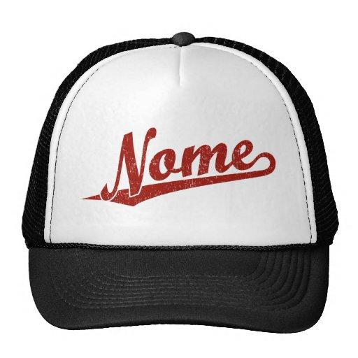 Logotipo do roteiro de Nome no vermelho afligido Bonés