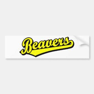 Logotipo do roteiro dos castores no amarelo adesivo