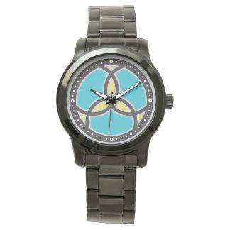 Logotipo do vitral da trindade dos peixes de Jesus Relógios