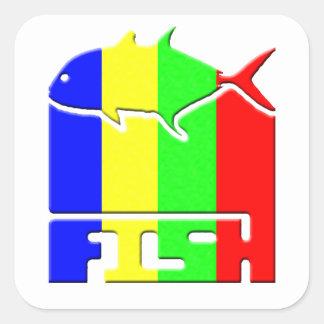 Logotipo dos PEIXES Adesivo Quadrado