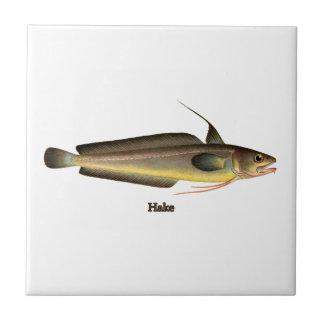 Logotipo dos peixes das pescadas azulejo quadrado pequeno
