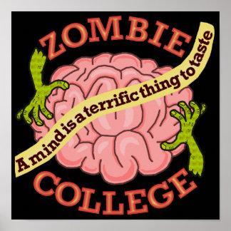 Logotipo engraçado da faculdade do zombi pôster