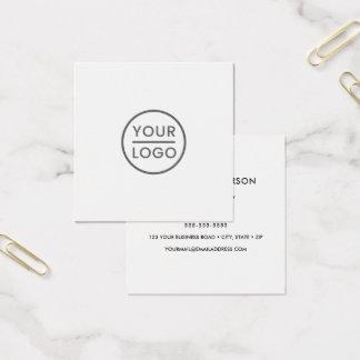 Logotipo feito sob encomenda, branco, quadrado, cartão de visitas quadrado
