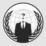 Logotipo internacional anónimo adesivo em formato redondo