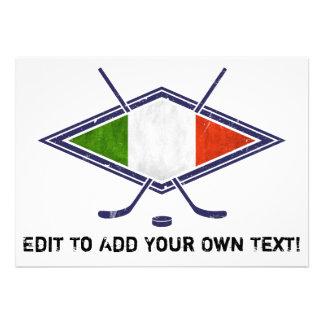 Logotipo italiano da bandeira do hóquei convites
