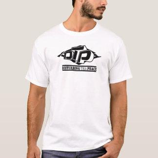 Logotipo preto do DTP no t-shirt branco Camiseta