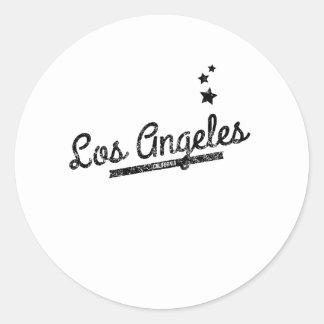 Logotipo retro afligido de Los Angeles Adesivos Redondos