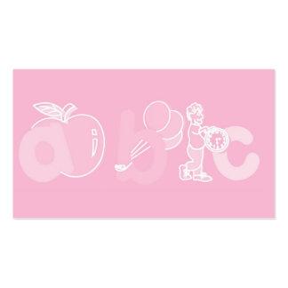 Logotipo rosa pálido do alfabeto de ABC para menin Cartões De Visitas