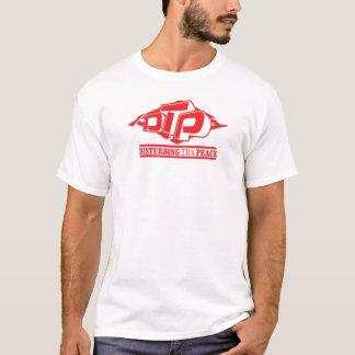 Logotipo vermelho do DTP no t-shirt preto Camiseta