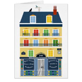 Loja da padaria da ilustração da construção de cartão comemorativo