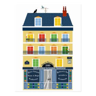 Loja da padaria da ilustração da construção de cartão postal