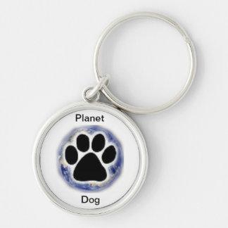 Loja do cão do planeta chaveiro redondo na cor prata
