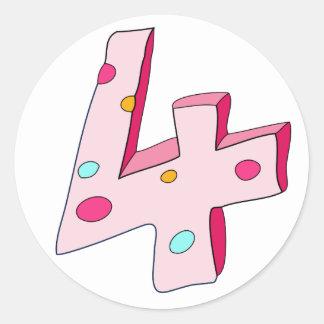 Lolly cor-de-rosa 4 etiquetas do aniversário adesivo redondo