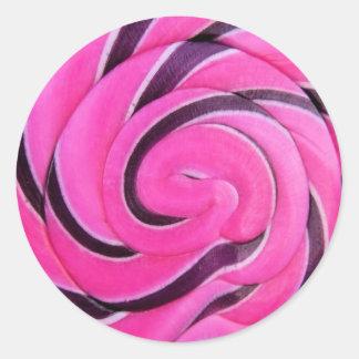 Lolly cor-de-rosa do redemoinho adesivo em formato redondo