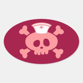 Lolly da enfermeira adesivo oval