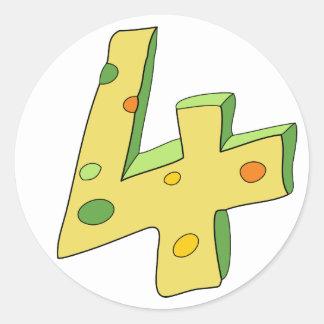 Lolly verde 4 etiquetas do aniversário redondas adesivo