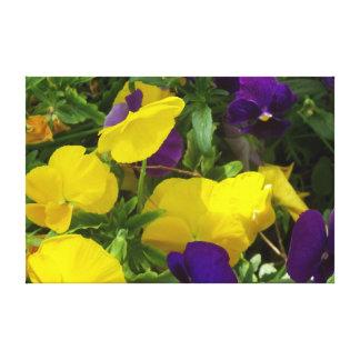 Lona amarela e roxa da mistura da flor impressão em tela
