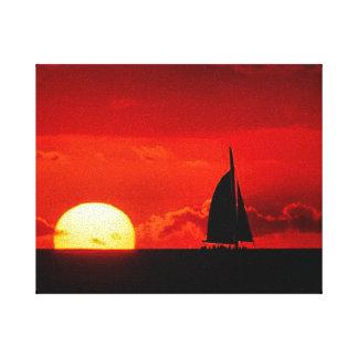 Lona colorida da parede do poster do por do sol impressão em tela