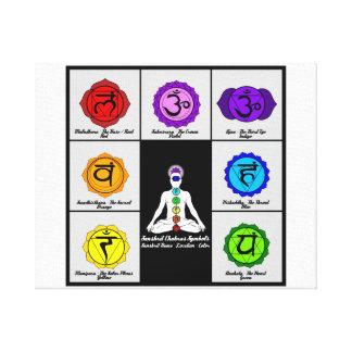 Lona da carta dos símbolos de Reiki sete Chakras Impressão Em Tela