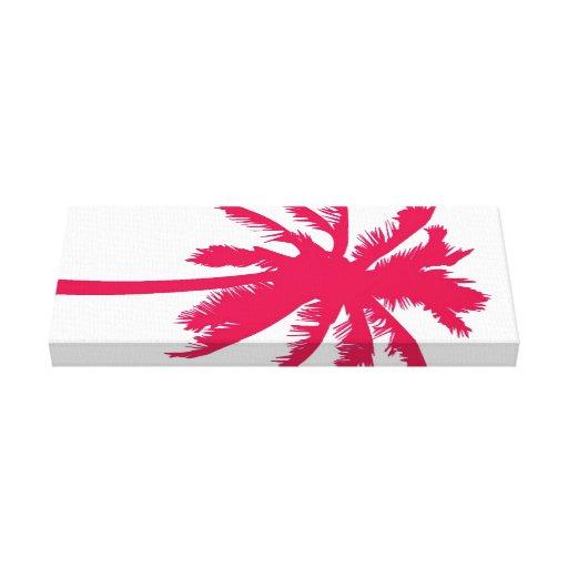 Lona envolvida da palma treeon vermelho impressão de canvas esticadas