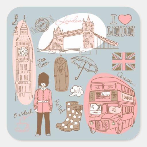 Londres Adesivo Quadrado