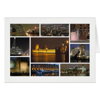 Londres na multi-imagem da noite cartão comemorativo
