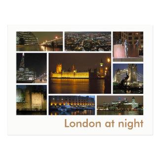 Londres na multi-imagem da noite cartão postal