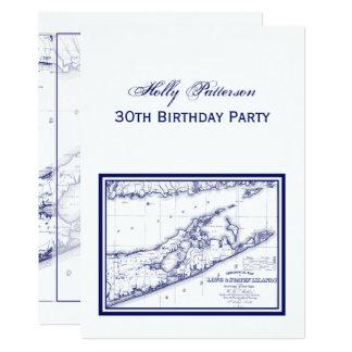 Long Island o mapa VC de Hamptons Convite 12.7 X 17.78cm