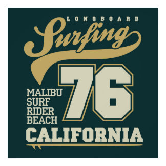 Longboard que surfa | Califórnia 76 Pôster