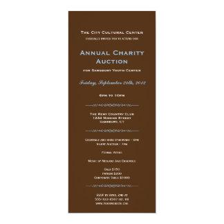 Longo incorporado azul do evento de gala do convite 10.16 x 23.49cm