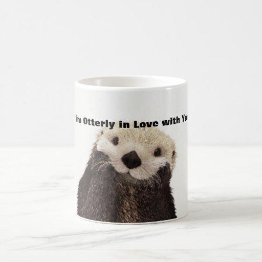 Lontra engraçada do dia de são valentim caneca