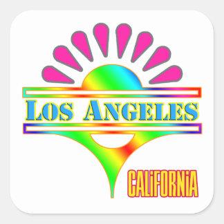 """Los Angeles 1"" colorido etiqueta Adesivo Quadrado"