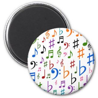 Lotes de notas musicais e de símbolos ímã redondo 5.08cm