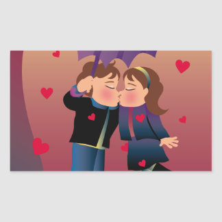 Lotes dos beijos adesivo retangular