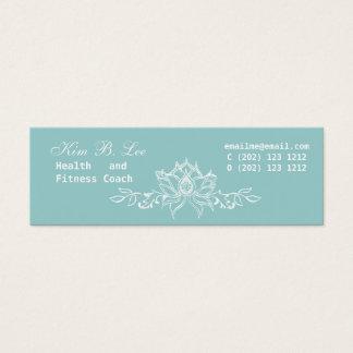 Lotus branco floral no azul da cerceta cartão de visitas mini