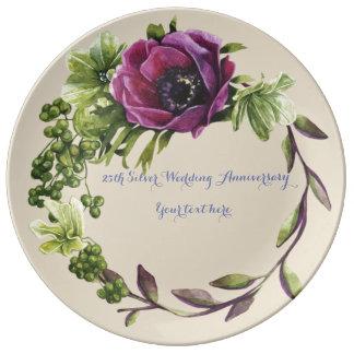 Louça 25o Placa da porcelana do aniversário de casamento
