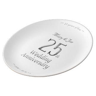 Louça 25o Tipografia de prata chique do aniversário de