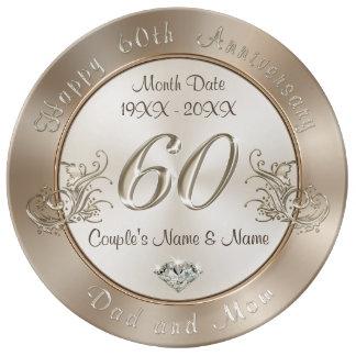 Louça 60th presentes personalizados do aniversário para
