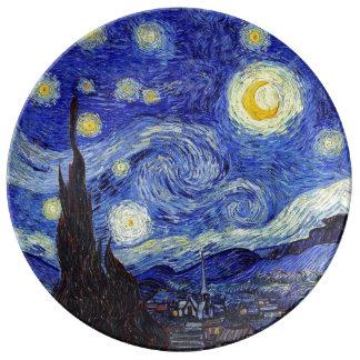 Louça A noite estrelado inspirou a placa da porcelana de