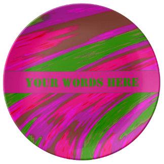 Louça Abstrato cor-de-rosa brilhante da abanada da cor